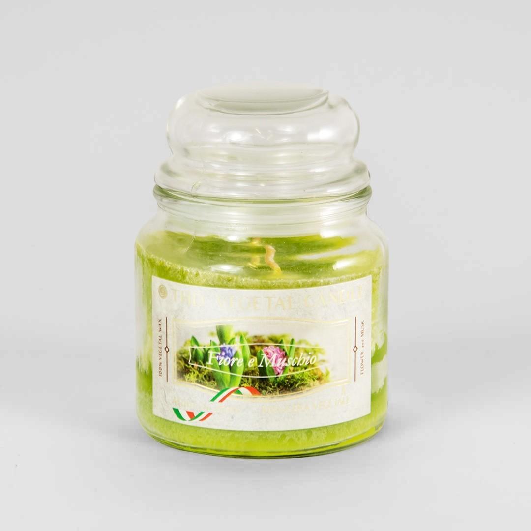 Kerze im Glas VEGETAL Blume und Moos 420 g